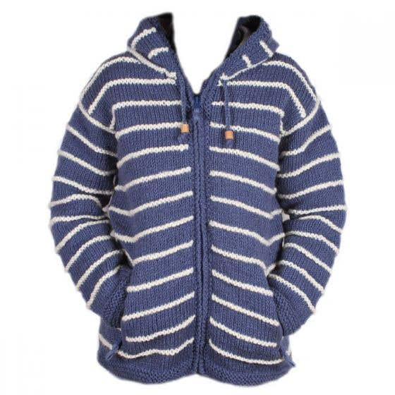 Women's Handknit Wool Striped Zip Hoody - Large