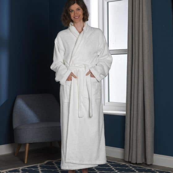 Natural Organic Cotton Dressing Gown - White (L/XL)