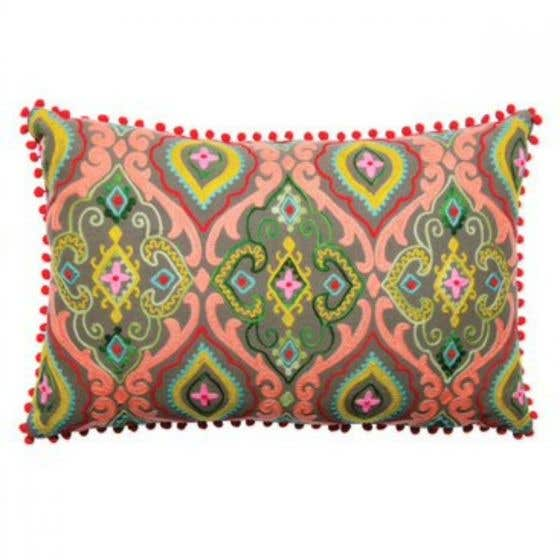 Multicoloured Hand-Embroidered Cushion Cover