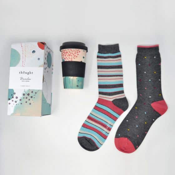 Thought Women's Bamboo Cup and Spot & Stripe Socks Gift Pack