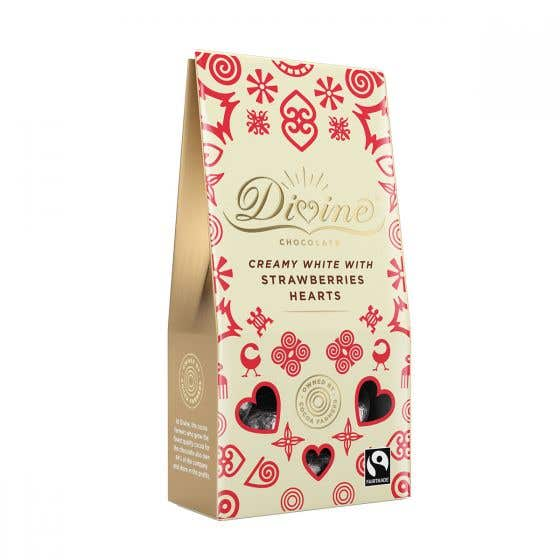 Divine White Chocolate & Strawberry Hearts 80g CASE