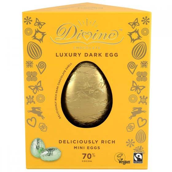 Divine 70% Dark Chocolate Luxury Easter Egg with Mini Eggs CASE (6x260g)