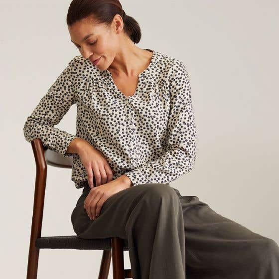 Thought Organic Cotton and Model Blend Spotty Dorothy Birch Grey Blouse