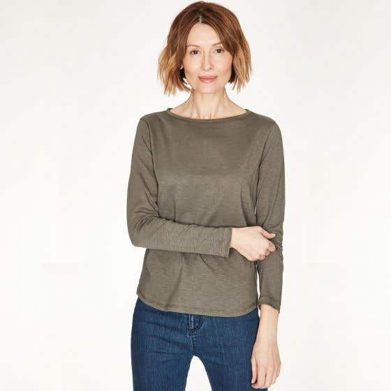 Thought Fairtrade and Organic Cotton Walnut Long Sleeve Top Size 14