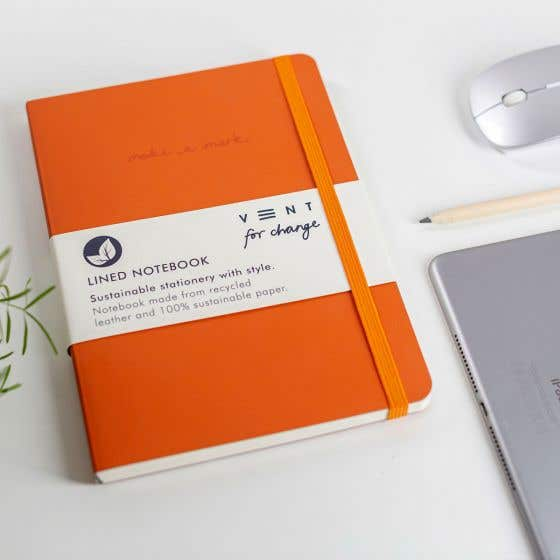 Recycled A5 'Make a Mark' Burnt Orange Notebook with Lined Pages