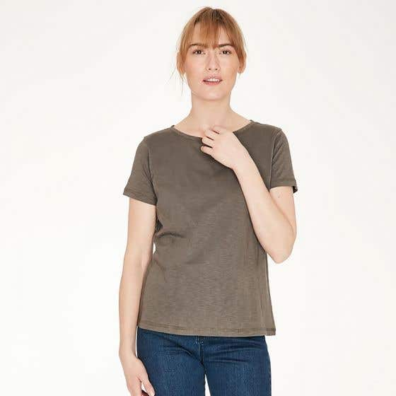 Thought Fairtrade and Organic Cotton Walnut T-Shirt - Size 16