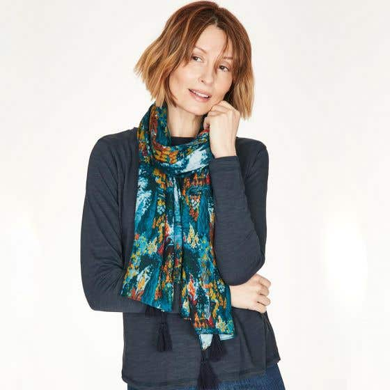 Thought 100% Bamboo Lightweight Majolica Blue Scarf in Gift Box