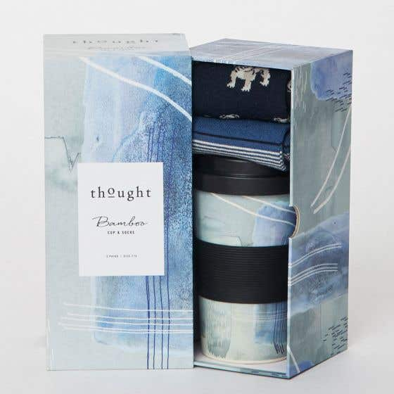 Thought Men's Blue Bamboo Blend and Organic Cotton Blend Socks Gift Pack