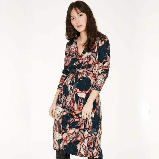 Thought Bamboo Blend Long Sleeve Harewood V Neck Dress