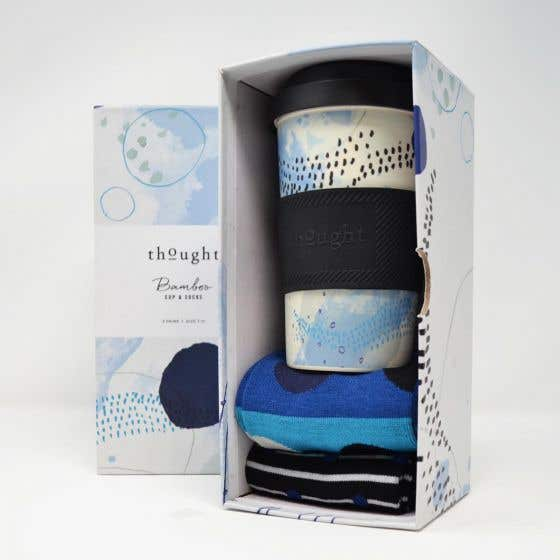 Thought Men's Bamboo Cup and Spot & Stripe Socks Gift Pack