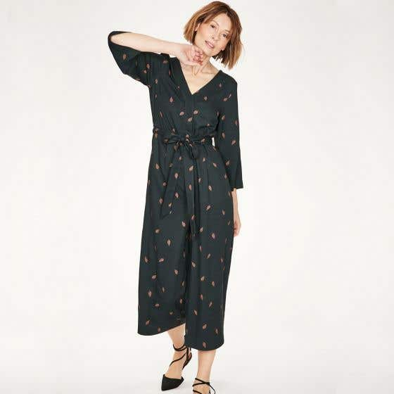 Thought Model and Bamboo Blend V Neck Navy Jumpsuit