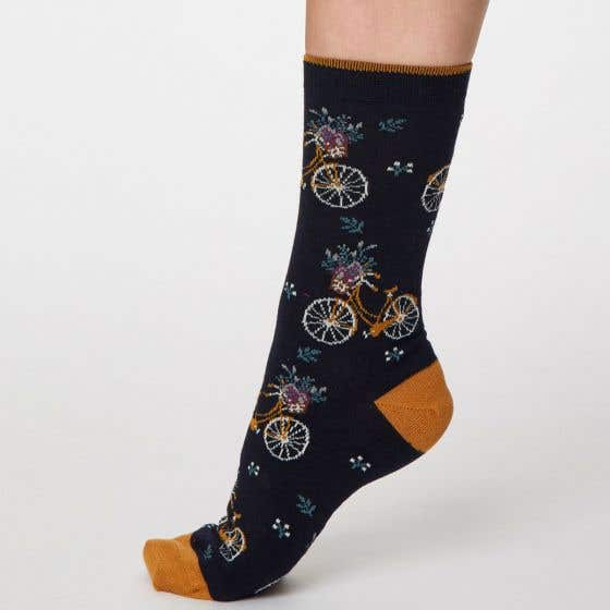 Thought Women's Navy Bicycle Bamboo, Recycled Polyester and Organic Cotton Blend Socks