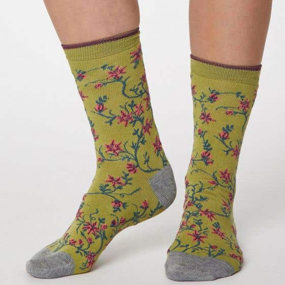 Thought Women's Green Floral Bamboo, Recycled Polyester and Organic Cotton Blend Socks