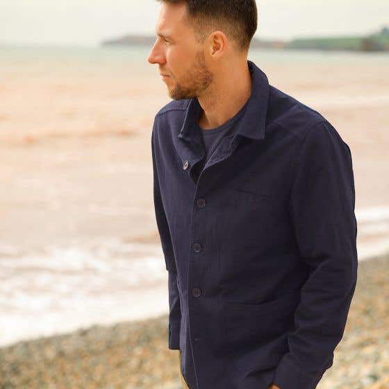Thought Men's Ezra Navy Organic Twill Jacket - Small