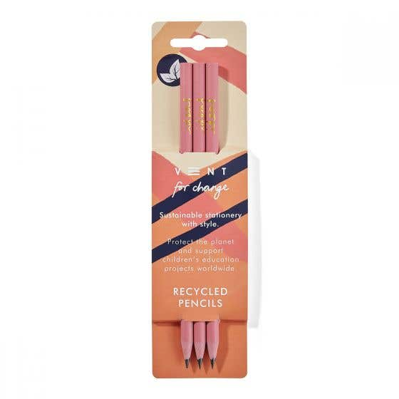 Three Pack Recycled Pink and Gold Pencils