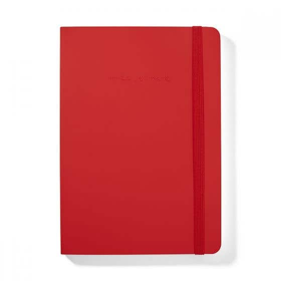 Recycled Leather A5 Red Notebook with Lined Pages