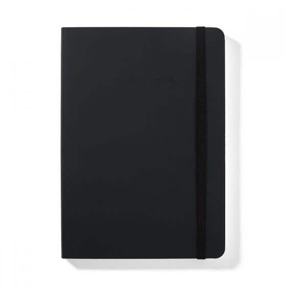 Recycled Leather A5 Charcoal Notebook with Lined Pages