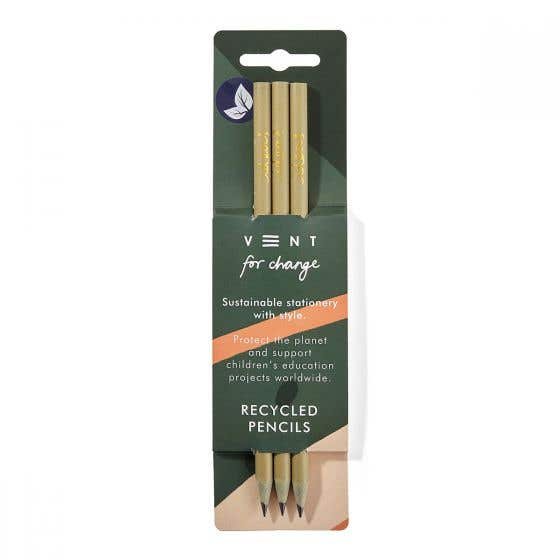 Three Pack Recycled Green and Gold Pencils