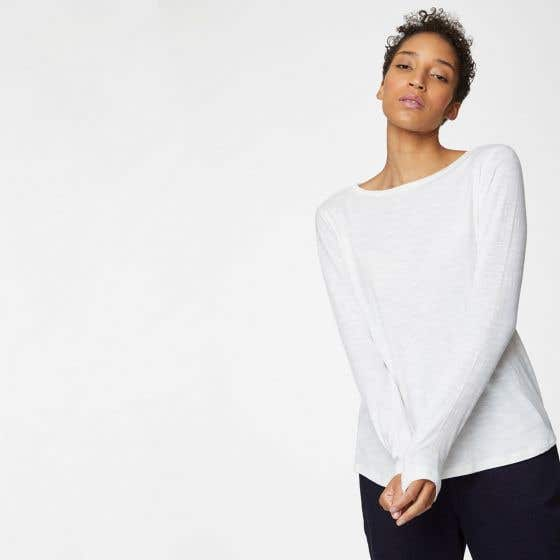 Thought Fairtrade and Organic Cotton White Long Sleeve Top Size 18
