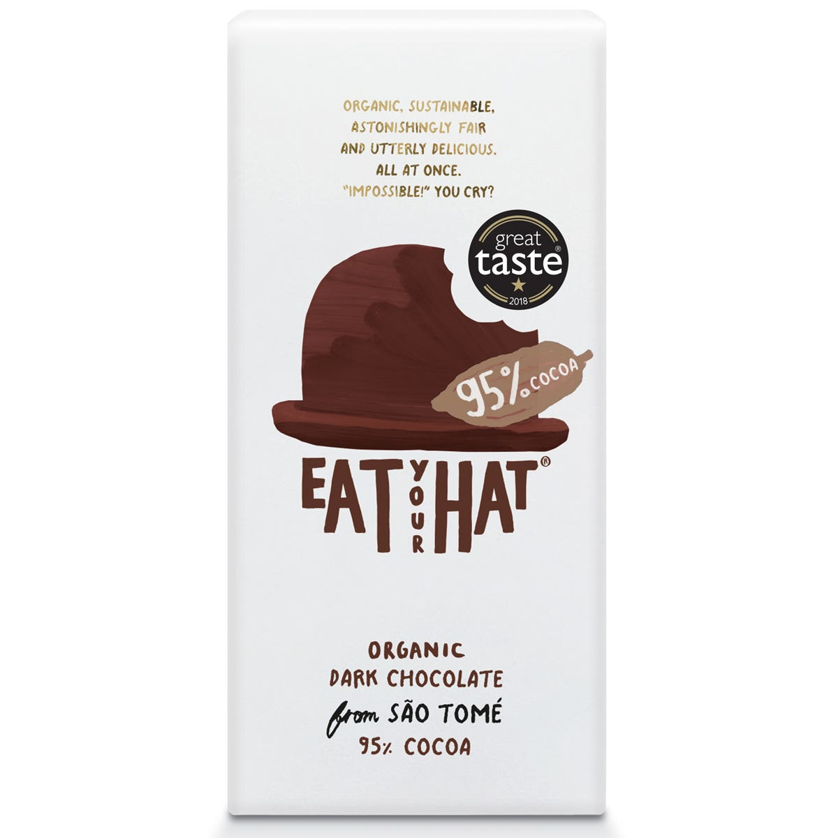 Eat Your Hat Organic 95% Dark Chocolate from São Tomé (81g)