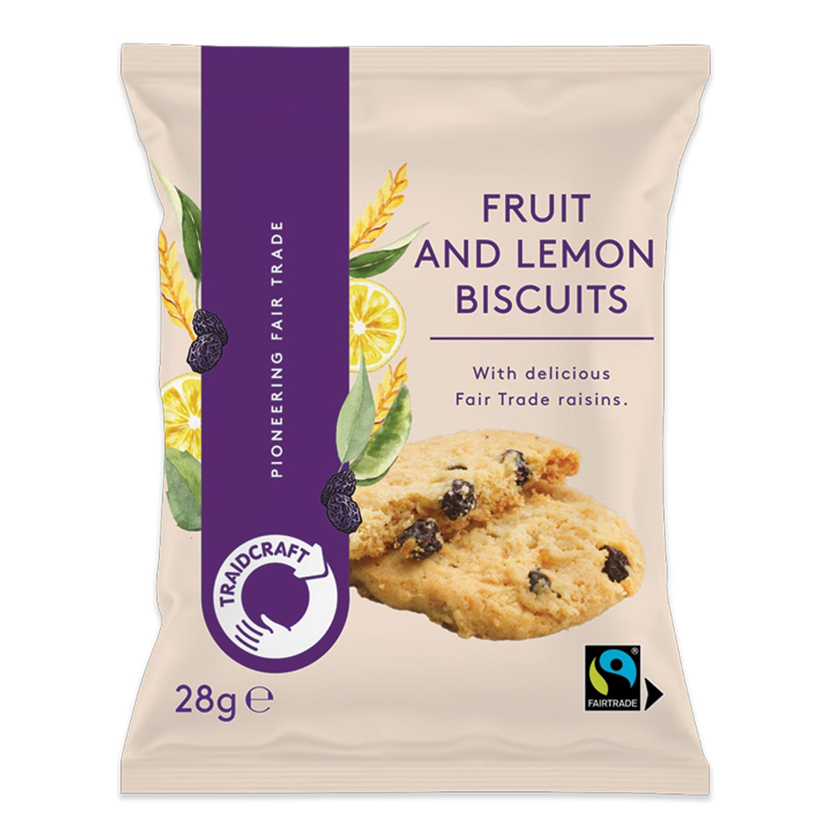Traidcraft Fruit & Lemon Biscuits (20x28g)