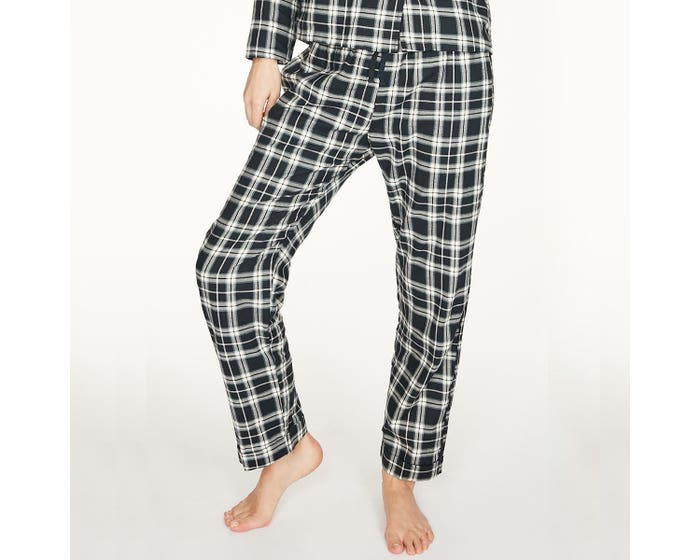 Thought 100% Organic Cotton Check Pyjama Navy Bottoms - Extra Small