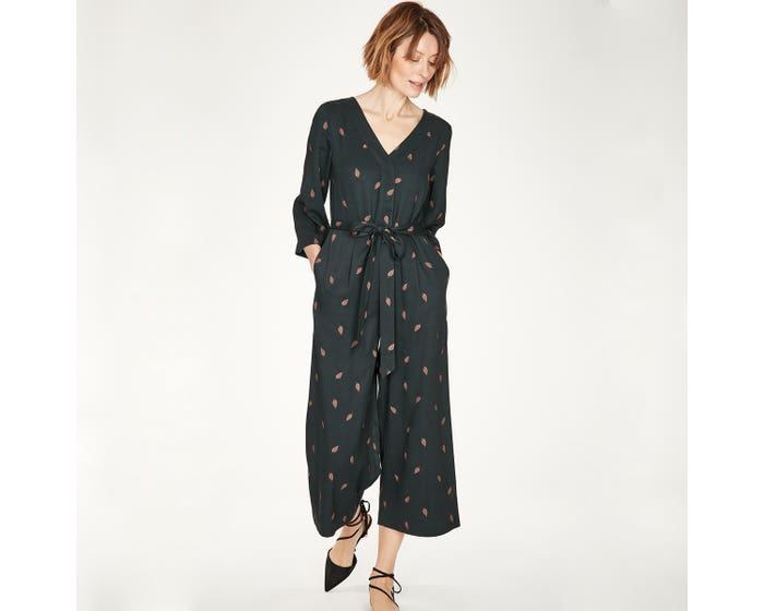 Thought Model and Bamboo Blend V Neck Navy Rosamund Jumpsuit