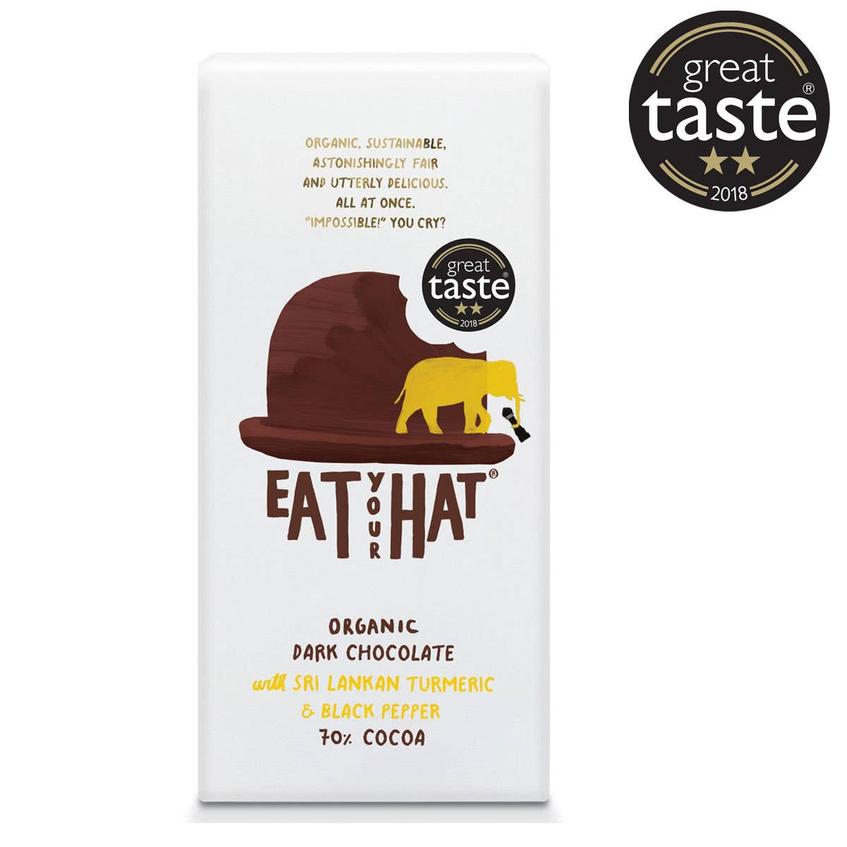 Eat Your Hat Organic Dark Chocolate with Turmeric & Black Pepper (10x91g) - CASE