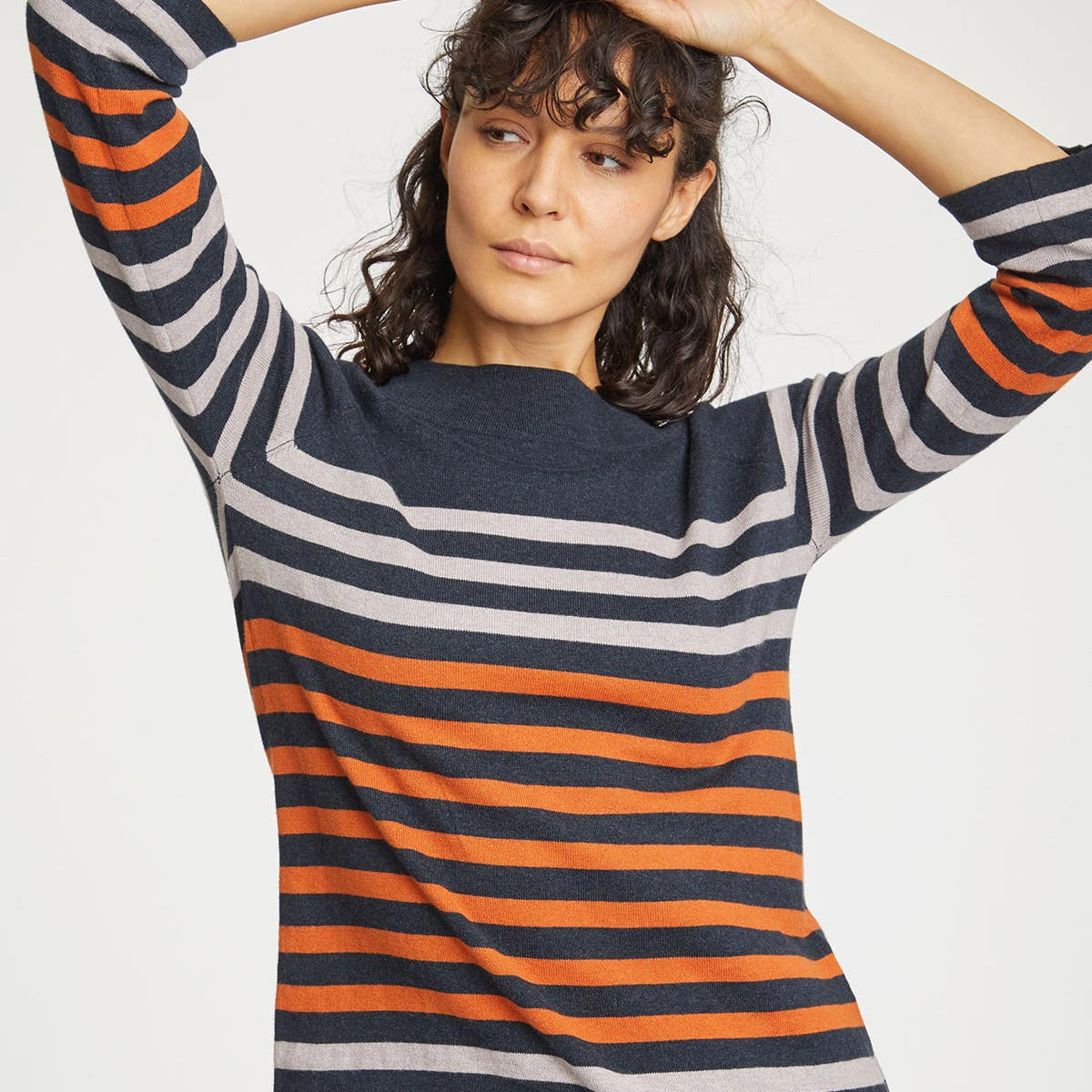 Thought Orange Stripe Sail La Vie Organic Cotton Women's Jumper Size 12