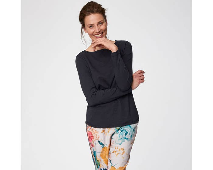 Thought Fairtrade and Organic Cotton Navy Long Sleeve Top