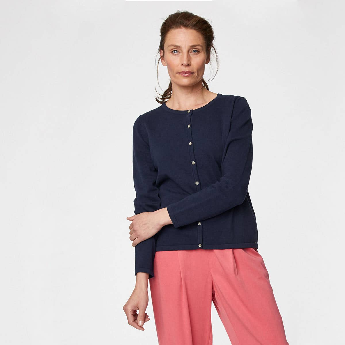 Thought Organic Cotton Navy Bodil Cardigan Size 16
