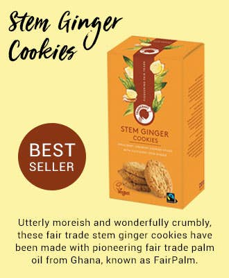 Traidcraft Stem Ginger Cookies with sustainable palm oil, FairPalm