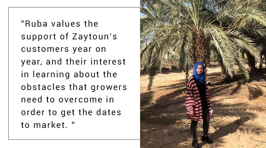 A quote from Ruba who works for Zaytoun in Palestine