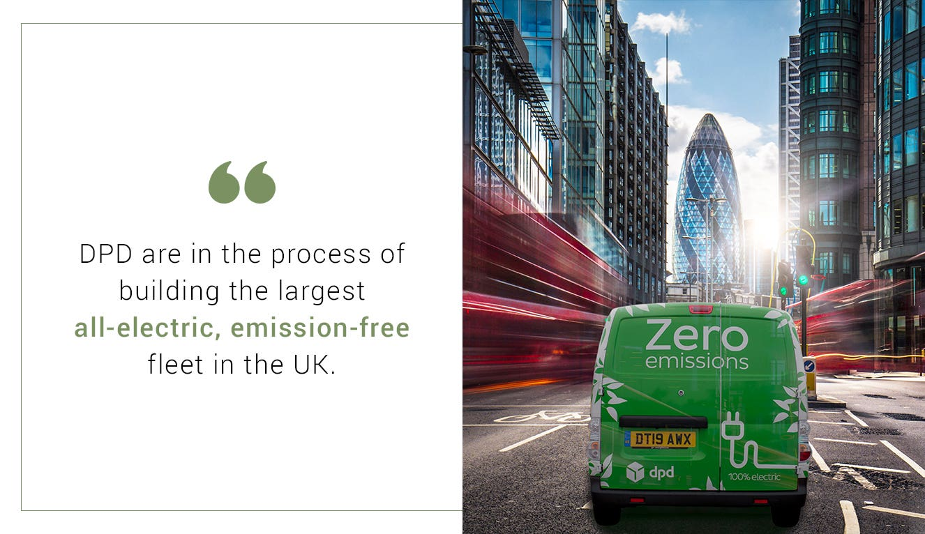 DPD electric vehicle in front of the Gherkin in London and a quote about DPD's green deliveries