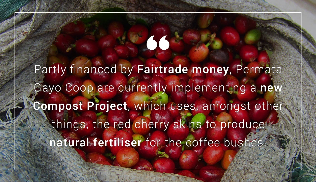 A quote about Fairtrade Premium money in Sumatra on a coffee plantation